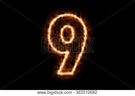 Fire Burning Forming Number Nine, 9, Alphabet Text Character Isolated On Black Background. 3d Render