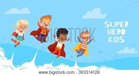 Cute Funny Kids Superheroes Fly To The Sky With Clouds. The Concept Of The Development Of Fantasy Ch