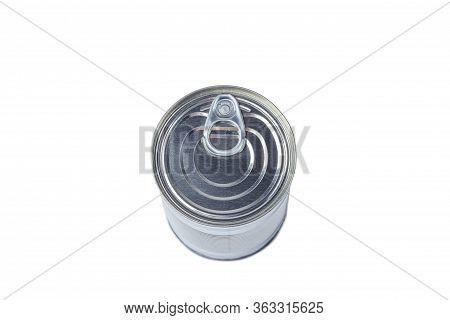 One Tin Can (canned Food) Isolated On White  Background. Food Supplies During Coronavirus Quarantine