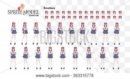 Set Of Emotions.sprite Full Length Character For Game Visual Novel. Anime Manga Girl, Cartoon Charac