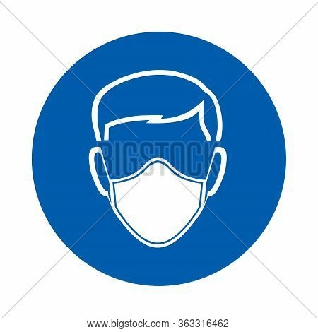 Safety Mask Must Be Worn Sign Or Symbol. M016.  Standard Iso 7010.  Vector Design Isolated On White