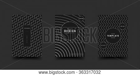 Minimalistic Geometric Black And White Colors Cover Set. Monochrome Abstract Dynamic Pattern. Vector