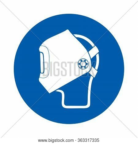 Welding Mask Must Be Worn Sign Or Symbol. M019. Standard Iso 7010.  Vector Design Isolated On White