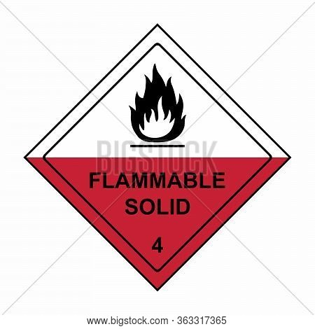 Flammable Solid Sign Or Symbol. Substances Liable To Spontaneous Combustion Sign Or Symbol. Vector D