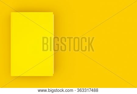 Single Yellow Hardcover Book Template Mock-up On Yellow Background Flat Lay Top View From Above, Mod
