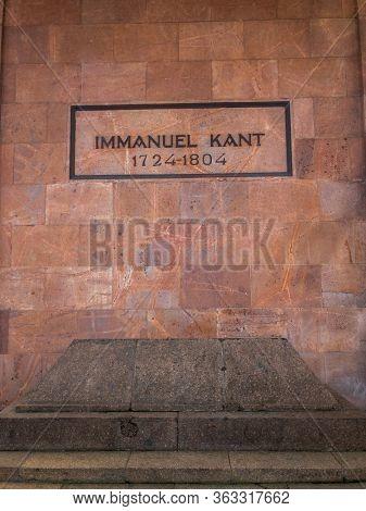 Kaliningrad, Russia - April 23, 2020: Inscription on the grave of the famous philosopher Immanuel Kant