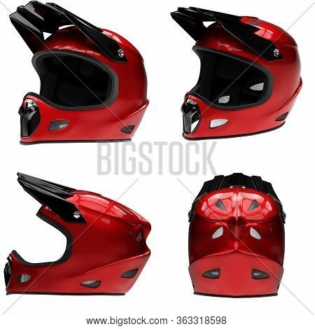 Set Of Motor Sport Fullface Helmet Isolated. All Side View. Extreme Sport Equipment. Red Color. 3d R
