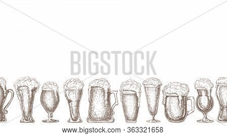 Seamless Beer Background Isolated On White. Hand Drawn Sketch Vector Illustration. Endless Beer Bord