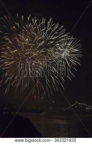Sevastopol, Crimea, Russia - July 28, 2019: Fireworks On The Day Of The Navy In The Sevastopol Bay,