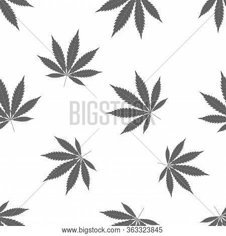 Cannabis Seamless Pattern. Marijuana Leaf, Gray Weed Plant. Hashish Texture, Isolated White Backgrou