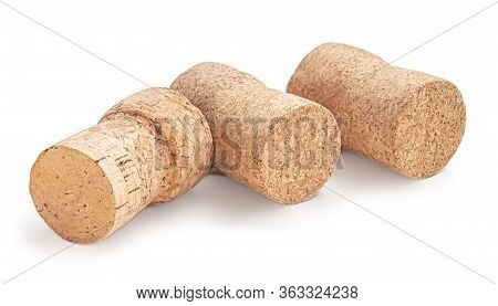 Wine Cork Isolated On White Background Macro. Cork Stoppers In A Row