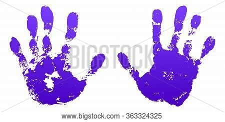 Hand Paint Print Set, Isolated White Background. Violet Human Palm And Fingers. Abstract Art Design,