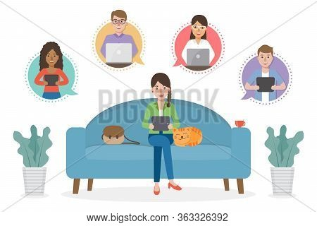 A Woman Working From Home During Covid-19 Pandemic By Sitting With A Cat On Sofa At Living Room Doin