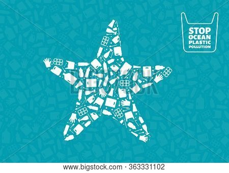 Plastic Trash Planet Pollution Concept Vector Illustration. Starfish Marine Animal Silhouette Filled