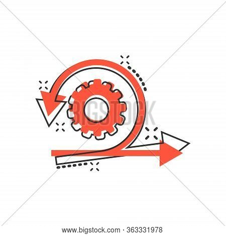 Agile Icon In Comic Style. Flexible Cartoon Vector Illustration On White Isolated Background. Arrow
