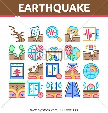 Earthquake Disaster Collection Icons Set Vector. Building And Road Destruction, Stone Collapse And E