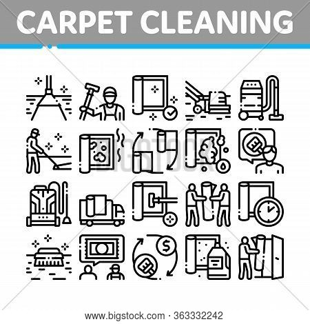Carpet Cleaning Washing Service Icons Set Vector. Dusty And Dirty Carpet And Floor Vacuum Cleaner Eq