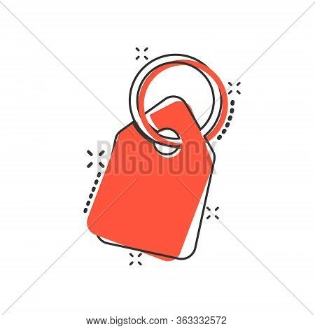 Price Tag Icon In Comic Style. Label Cartoon Vector Illustration On White Isolated Background. Sale