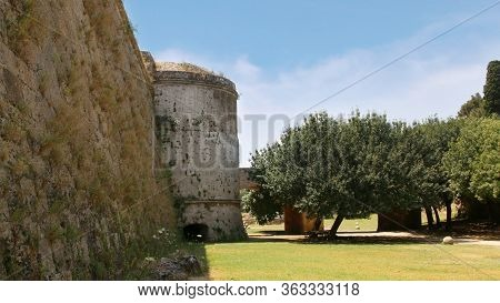 Bastion And Fortress Wall Near Gate Of D`amboise, Fortifications Of Rhodes, Rhodes Fortress, Old Tow