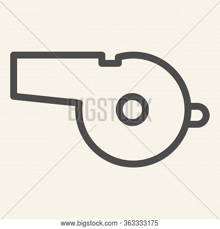 Whistle Line Icon. Sports Whistle Outline Style Pictogram On Beige Background. Blowing For Mobile Co