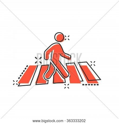 Pedestrian Crosswalk Icon In Comic Style. People Walkway Cartoon Sign Vector Illustration On White I