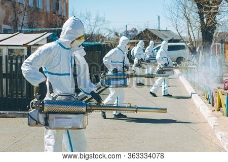Disinfection Virus Outside Street Specialist Spray Epidemic