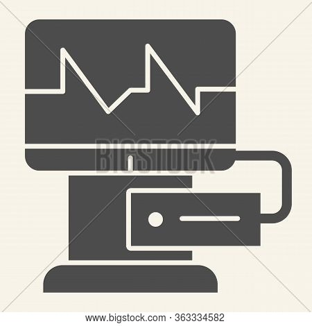 Cardiograph Solid Icon. Electrocardiogram On Monitor Glyph Style Pictogram On White Background. Medi
