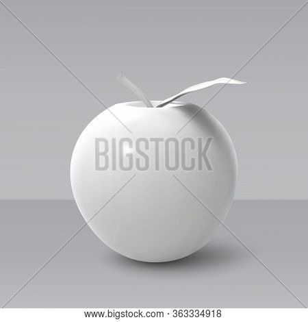 Realistic White Apple Isolated On Grey Background. 3d Template For Products, Advertizing, Web Banner