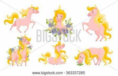 Pink Unicorn With Slender Legs And Golden Mane Vector Set