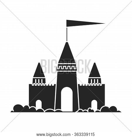 Sand Castle Vector Icon.black Vector Icon Isolated On White Background Sand Castle .