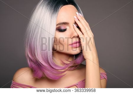 Beauty Portrait Of Woman With Ombre Bob Short Hairstyle. Beautiful Coloring  Hair. Trendy Puprle Hai