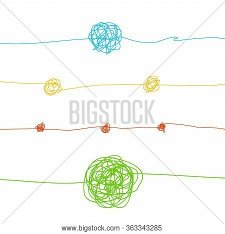 Color Messy Clew Connected Lines Set Symbol Of Way And Chaos Isolated On A White Background. Vector