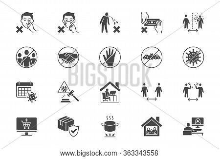 Coronavirus Prevention Flat Icons. Vector Illustration Include Icon - Social Distance, Quarantine Vi