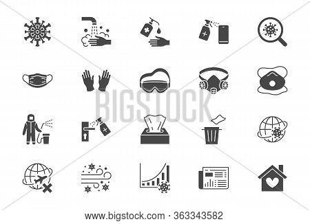 Coronavirus, Virus Prevention Flat Icons. Vector Illustration Include Icon - Wash Hands Disinfection
