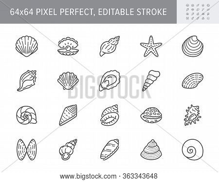 Seashell, Oyster, Scallop Line Icons. Vector Illustration Included Icon As Nautilus, Spiral Shell, S