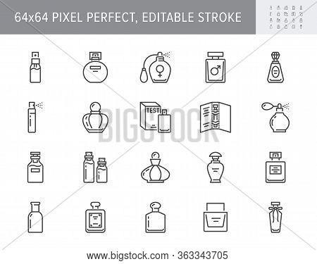 Perfume Bottles Line Icons. Vector Illustration Included Icon As Glass Sprayer, Luxury Parfum Sample