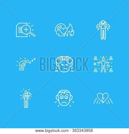 Vector Illustration Of 9 Emoji Icons Line Style. Editable Set Of Research, Depression, Offence And O