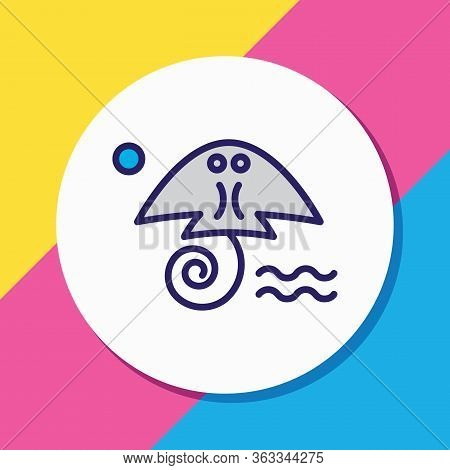 Illustration Of Cramp Fish Icon Colored Line. Beautiful Maritime Element Also Can Be Used As Stingra