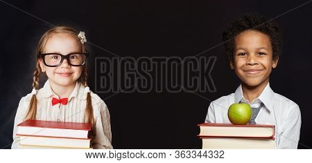 Happy Kids School Girl And Boy On Black Banner Background. Back To School