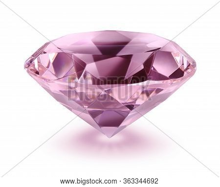 Pink Diamond On White Background, Soft Drop Shadow, Isolated