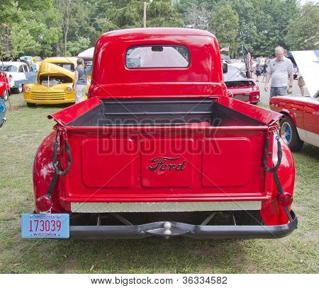 1950 Red Ford F1 Pickup Back View