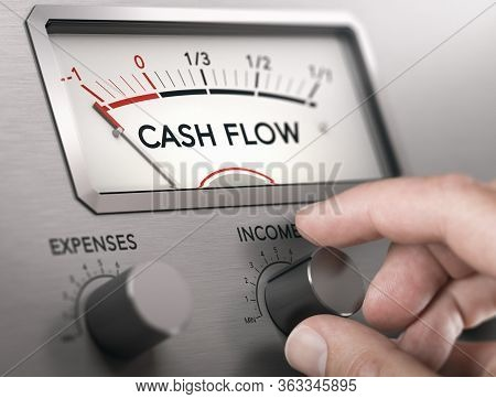Man Turning Knob To Increase Income And Cash Flow Level. Composite Image Between A Hand Photography