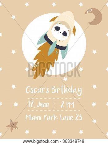 Baby Shower, Birthday Invitation Card With Panda Cosmonaut
