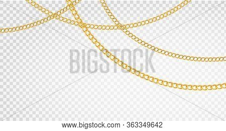 Golden Chain. Luxury Chains Different Shapes, Realistic Gold Links Jewelry, Metal Golden Elements Re