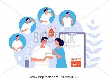 Diabetes Mellitus. Glucose Blood Test. Insulin, Sugar Meters And Disease Symptoms. Medical Healthcar