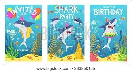 Invitations Card With Cute Sharks. Color Greeting Card, Undersea World Animals. Shark, Seaweed And F