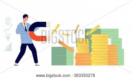 Investment Magnete. Investing Gold, Magnet Attracted Coins. Huge Growth, Finance Energy. Man Magneti