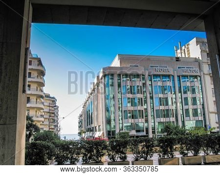 Cannes, France - Nov 3, 2003: Outdoor View Of The Noga Hilton Hotel And Casino Currently Operating U