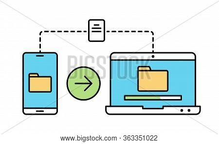 File Transfer Linear Color Illustration Isolated On White. Smartphone To Laptop Wireless File Transf