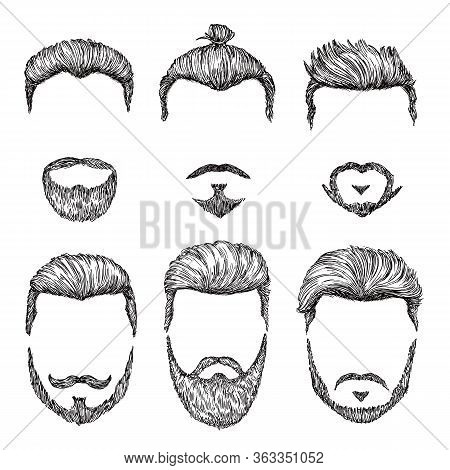 Hipster Haircut. Hand Drawn Vintage Hair Styles. Isolated Man Beards And Moustache Models. Creative
